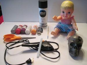 A few items used to make a Halloween Baby Doll, not all items pictured, so please see text!
