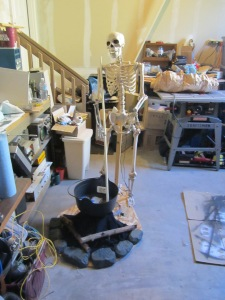 Frame and staging for more work on the talking skeleton.